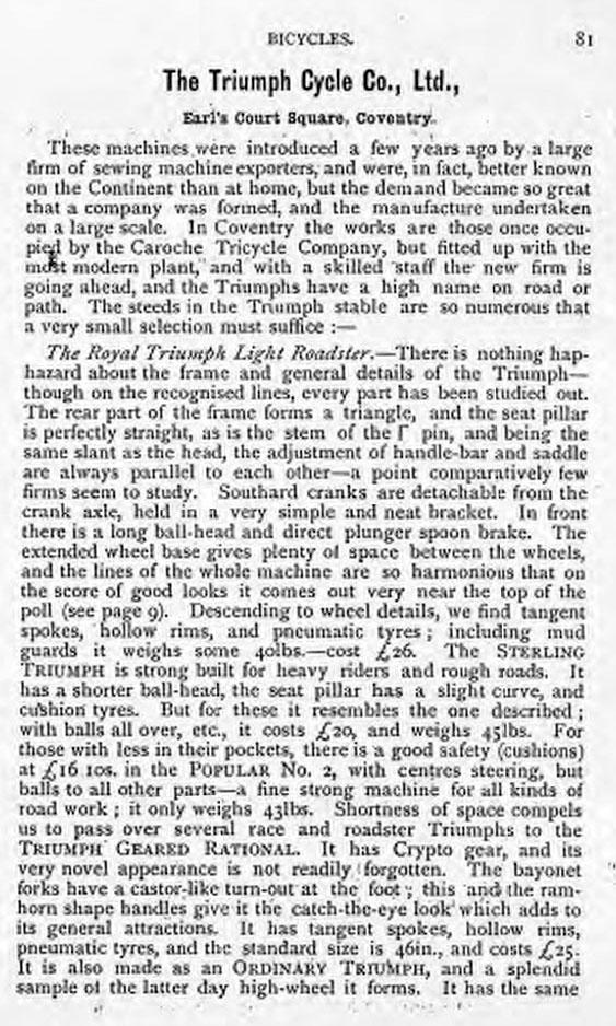 1892 triumph DESCRIPTION