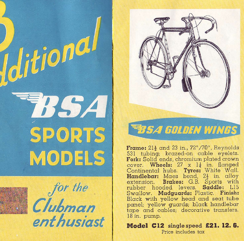 1956 BSA Golden Wings   The Online Bicycle Museum
