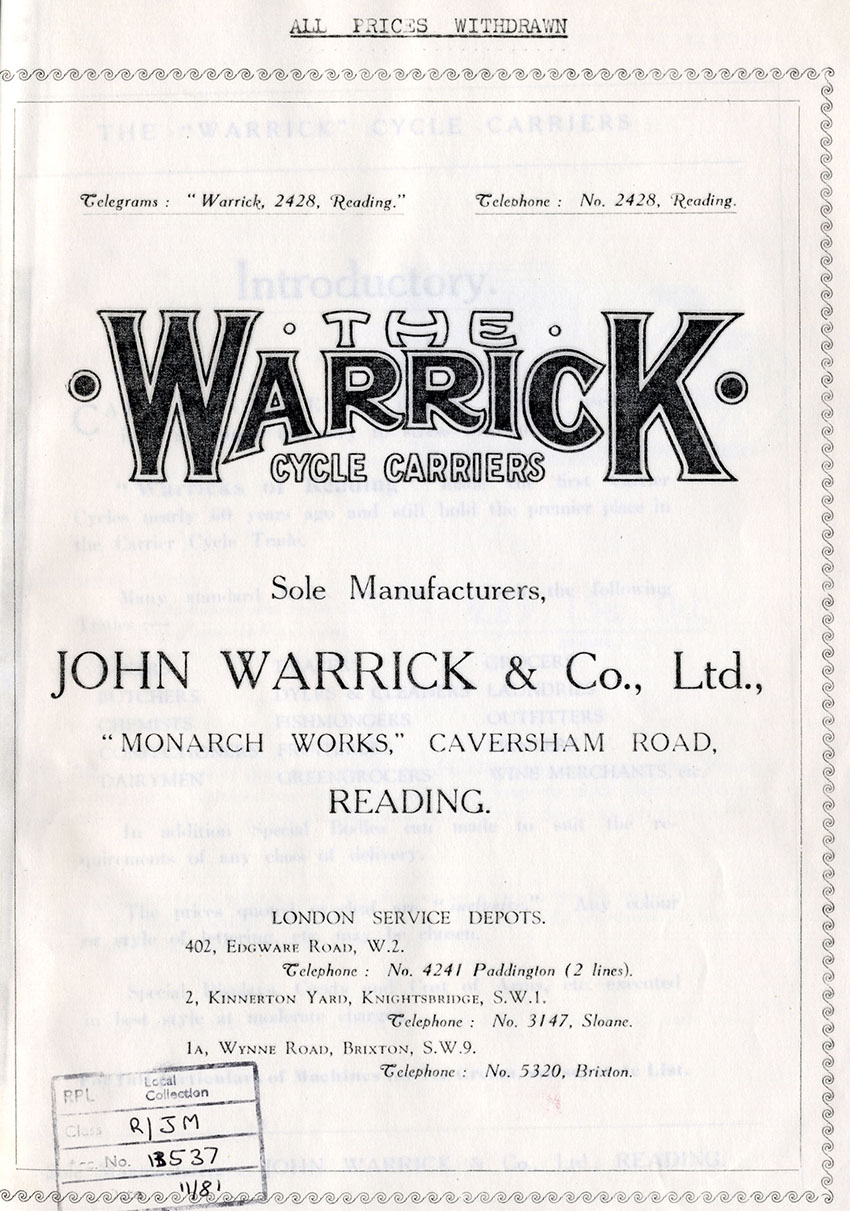1920 JOHN WARRICK CATALOGUE 1