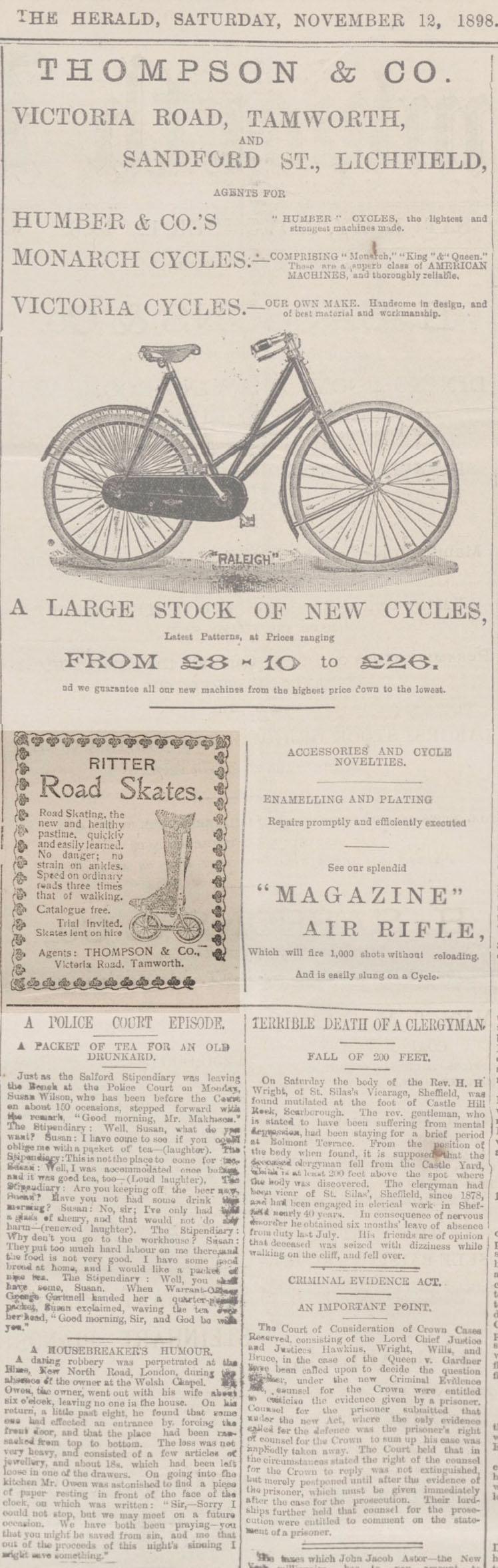 1898 ritter road skates advert