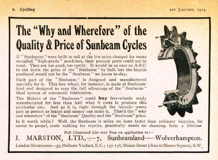 1914 cycling magazine sunbeam ad