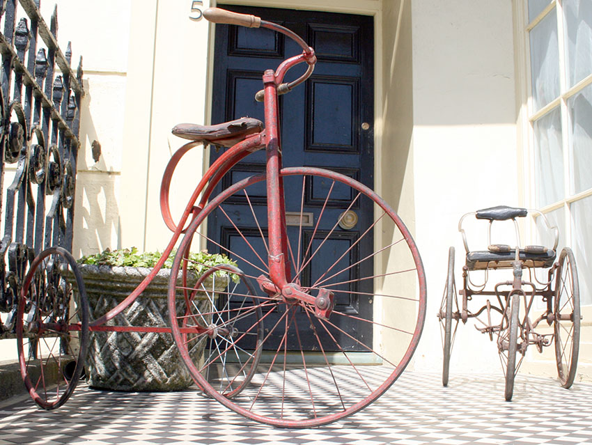 velocipede tricycle and tiller treadle