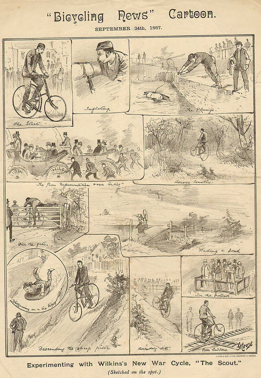 1887 bicycling news wilkins new war cycle