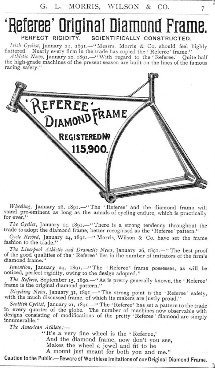 1891 Referee Pattern Diamond Frame Safety | The Online Bicycle Museum