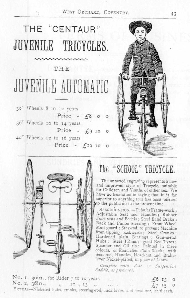 1887 Centaur School Tricycle Manumatic