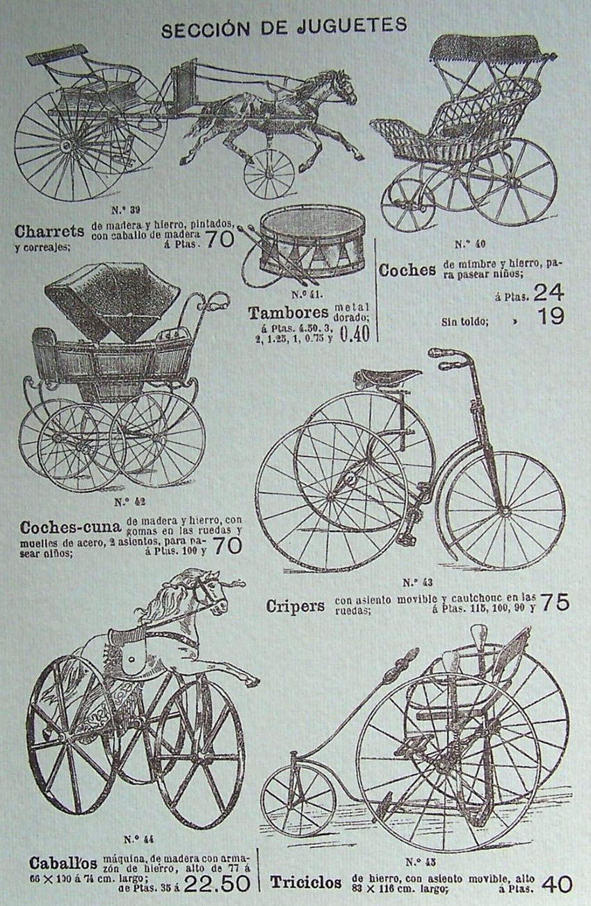 1897 spanish catalogue childrens tricycles