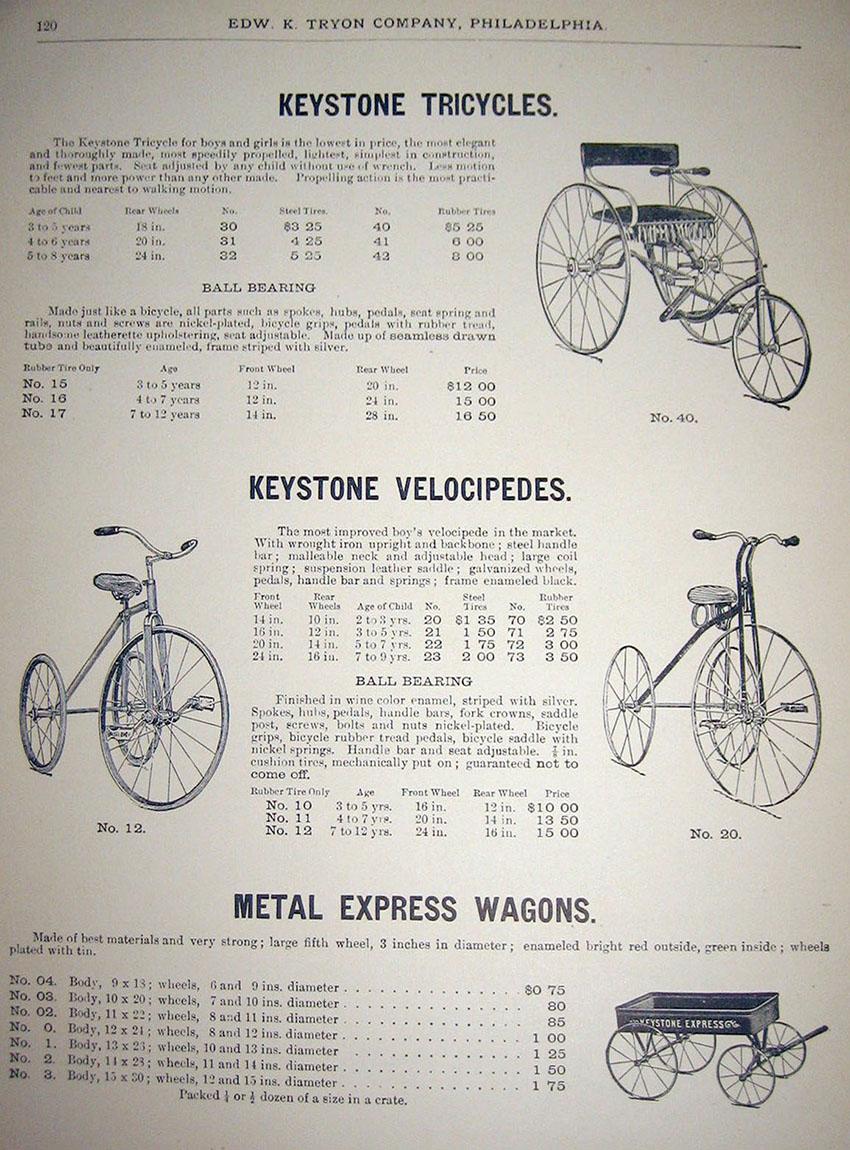 1909 keystone tricycles