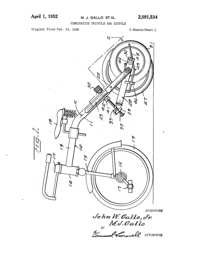 1949 1952 M J Gallo combination tricycle patent