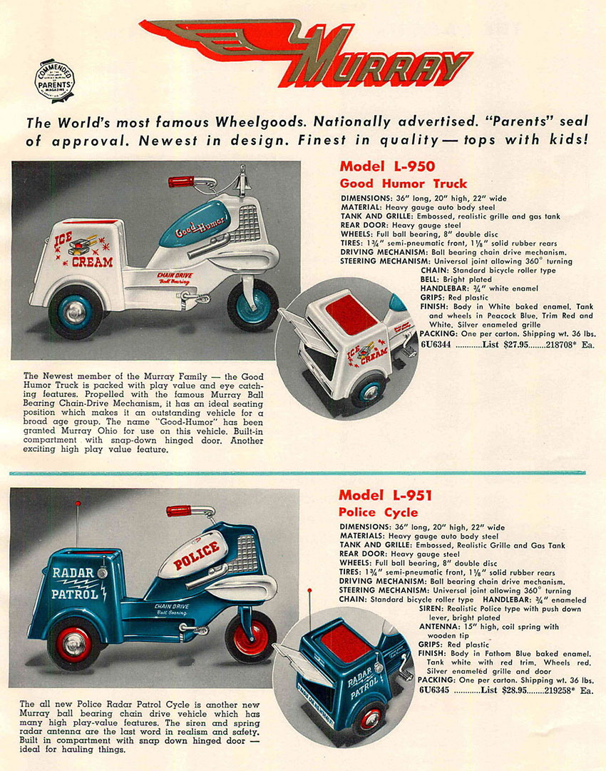 1955 Murray Police Ice Cream tricycles pedal cars