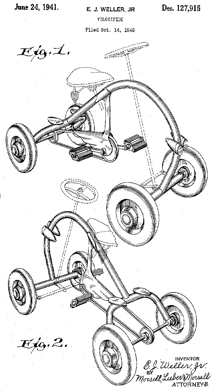 the online bicycle museum 1948 kar bike double tube quadricycle Used Harley -Davidson Rolling Chassis kar bike patent