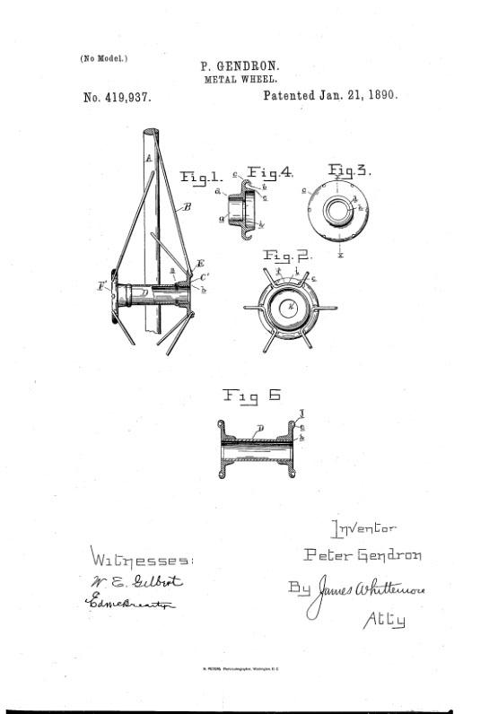1890 PETER GENDRON METAL WHEEL PATENT