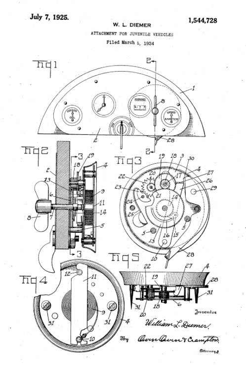 W.L DIEMER AMERICAN NATIONAL tricycle 1925 patent