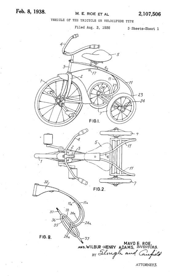 Wilbur Henry Adams colson tricycle 1936 1938