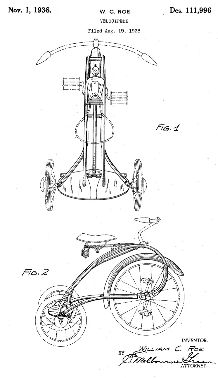 1938 Colson Rocket Rear Steering Tricycle patent 0
