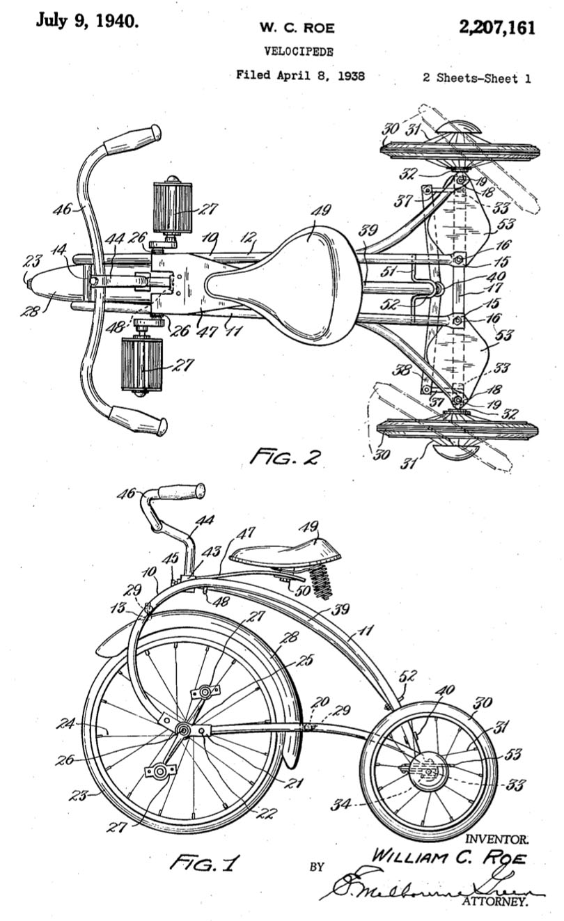1938 Colson Rocket Rear Steering Tricycle patent 1 the online bicycle museum 1938 colson rocket rear steering tricycle