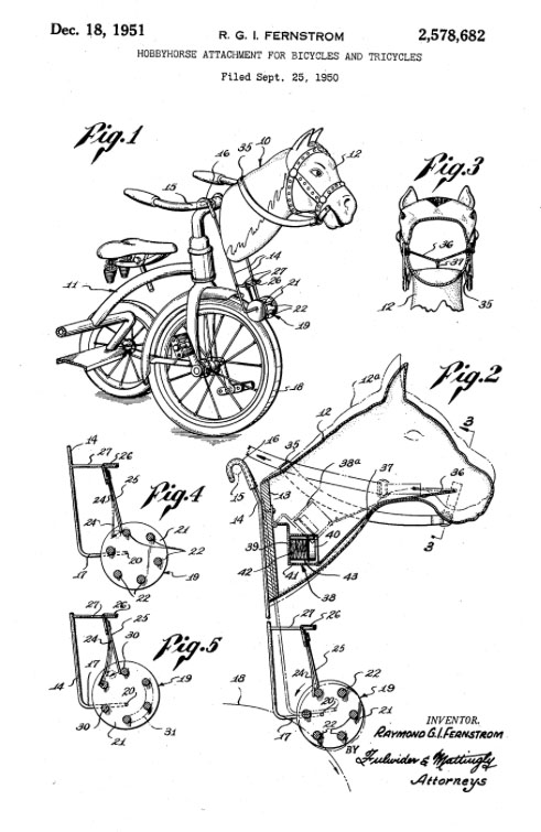 hobby horse attachment tricycles 1950 fernstrom