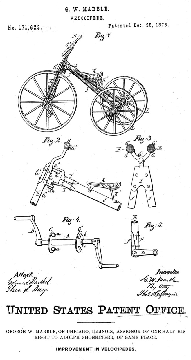 1875 velocipede tricycle marble patent