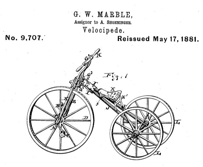 1881 Marble velocipede tricycle 0