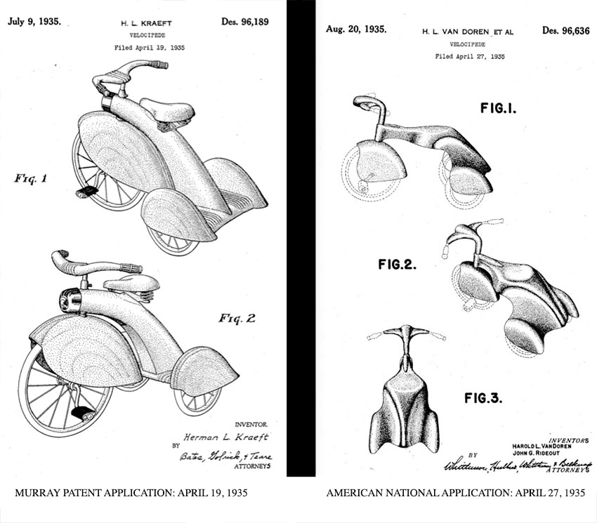 1935 Murray fendered tricycle patent