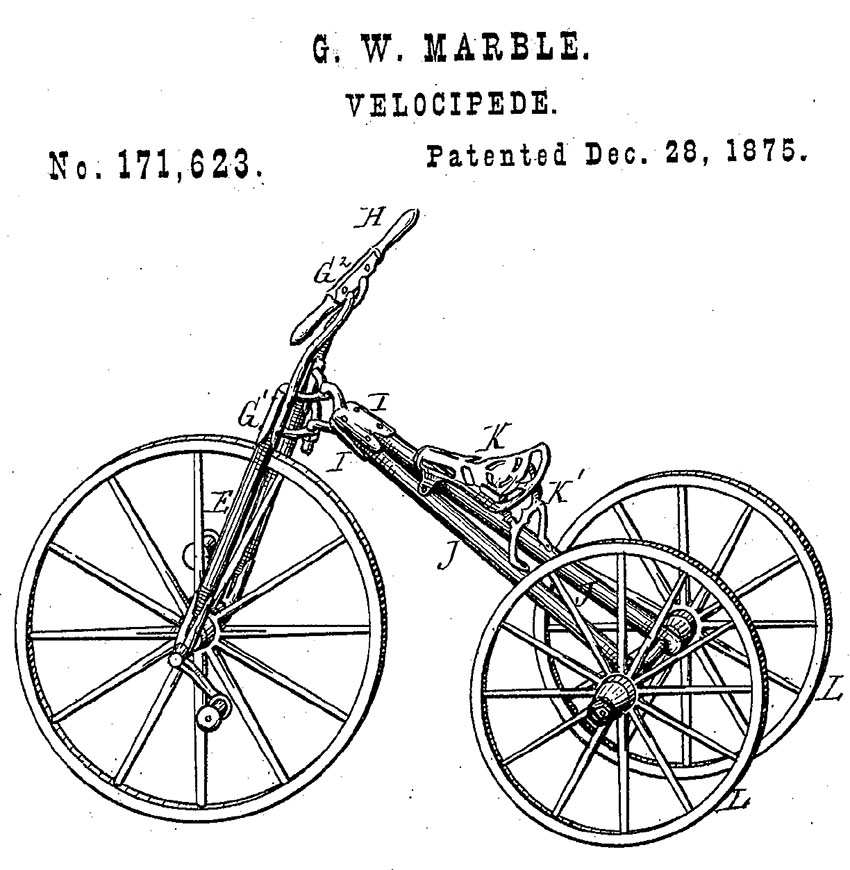 gw marble velocipede tricyckle patent 1875