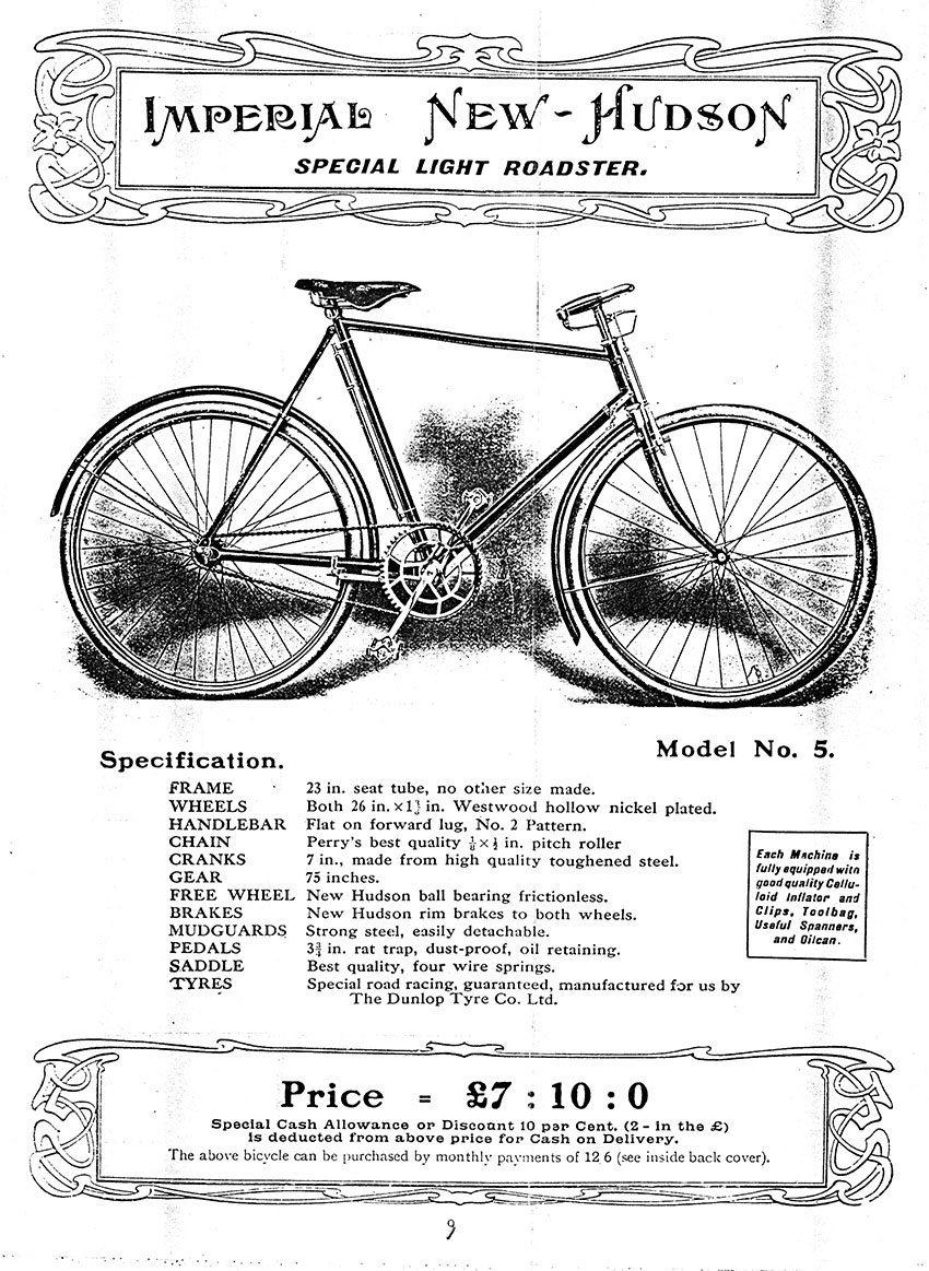 new hudson john o groats light roadster the online bicycle 1907 new hudson catalogue extracts imperial
