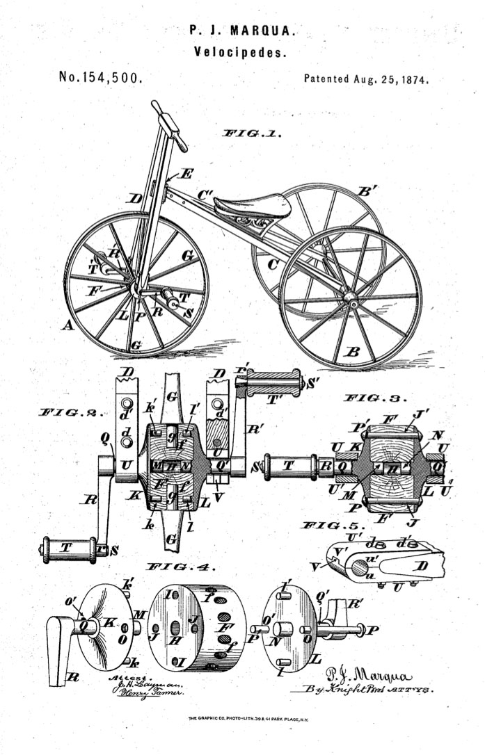 1874 marque tricycle hubs patent