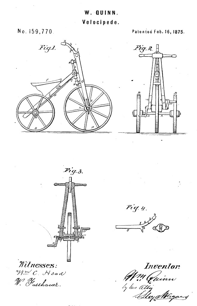 1875 W Quinn Velocipede Tricycle Patent 1