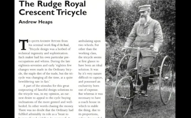 1888 RUDGE ROYAL CRESCENT TRICYCLE