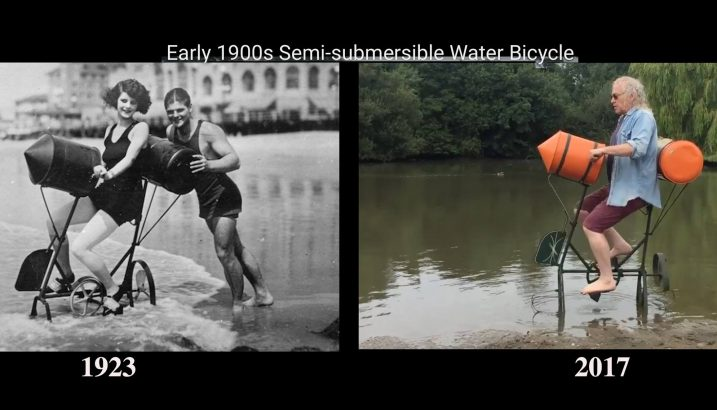 1900s Semi-submersible Water Bicycle
