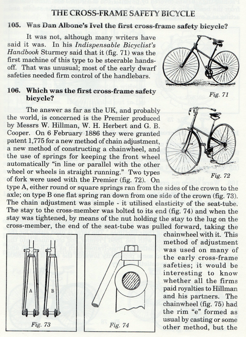 1 cross frame safety bicycle history